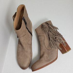 Liebeskind Berlin Tan Fringe Zip Block Heel Boots